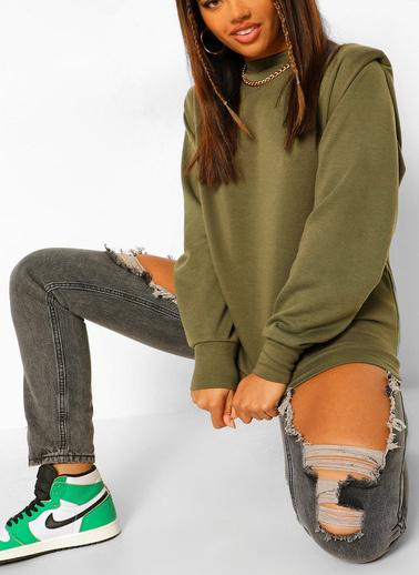 XHAN Haki Vatkalı Sweatshirt 1Kxk8-44260-09 Haki